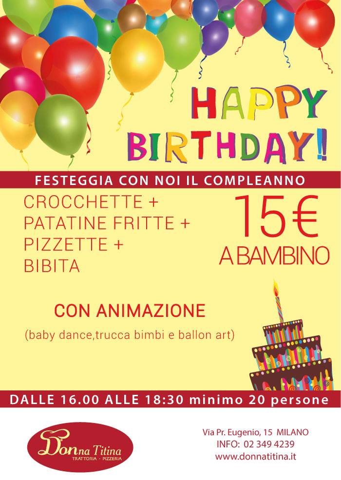 Menù festa bimbi con animazione a Milano da Donna Titina trattoria pizzeria